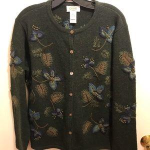 Talbots Green Floral Wool Cardigan